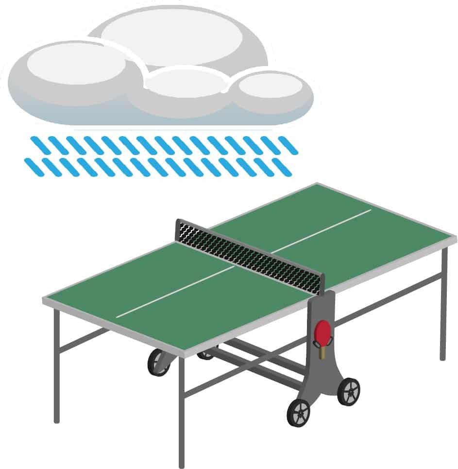 indoor tischtennisplatte regen